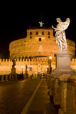 天使城堡意大利晚上罗马圣徒 免版税库存照片