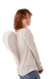 天使字符蠕动的portrait先生白色翼 闪光 免版税库存图片