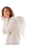 天使字符蠕动的portrait先生白色翼 免版税库存图片