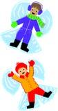 天使开玩笑雪 向量例证