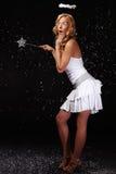 天使惊奇的女孩降雪 库存照片