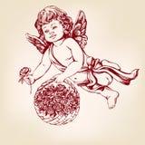 天使或丘比特,小的婴孩飞行和给花玫瑰贺卡手拉的传染媒介例证现实剪影 免版税库存照片