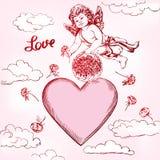 天使或丘比特,小的婴孩飞行和给花玫瑰,爱,华伦泰s天,贺卡手拉的传染媒介 图库摄影