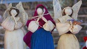 天使手工制造与干玉米叶子 免版税库存照片