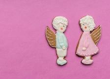 天使曲奇饼夫妇  免版税库存图片