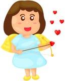 天使服装的逗人喜爱的女孩 免版税库存照片