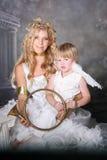 天使母亲儿子 免版税库存图片