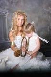 天使母亲儿子 库存照片