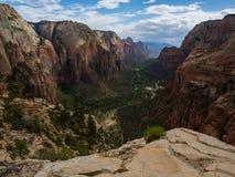 天使登陆忽略峡谷视图,锡安国家公园,犹他 库存图片