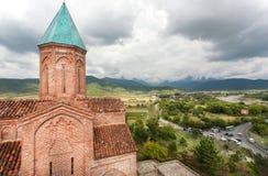 天使的半球形的教会,建造石头在16世纪, Gremi镇在泰拉维附近 卡赫季州,乔治亚风景  库存照片