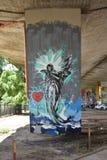 天使的街道画,创造由Legia华沙橄榄球俱乐部爱好者  库存照片