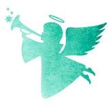 天使的水彩剪影 在白色b的水彩绘画 免版税库存照片