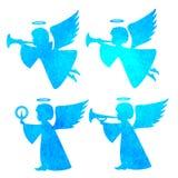 天使的水彩剪影 在白色b的水彩绘画 免版税图库摄影