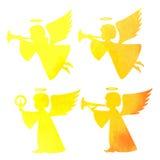 天使的水彩剪影 在白色b的水彩绘画 库存照片