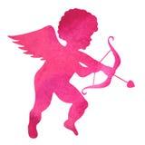 天使的水彩剪影 在白色b的水彩绘画 库存图片
