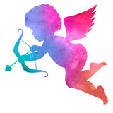 天使的水彩剪影 背景绘画水彩白色 库存照片