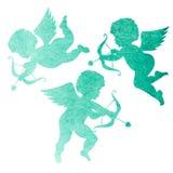 天使的水彩剪影 watercolor_painting在白色b 免版税图库摄影
