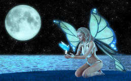 天使神仙和可爱的鸠例证 库存例证