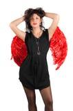 天使美丽的女孩红色性感的翼 免版税库存照片