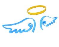 天使翼和光晕的表示 向量例证