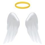 天使翼和光晕 免版税库存图片