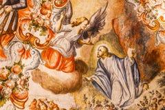 天使耶稣耶稣Atotonilco墨西哥壁画圣所  库存图片
