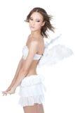 天使背景美好的典雅的女孩白色 免版税库存照片