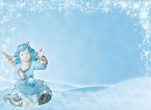 天使背景蓝色 库存照片