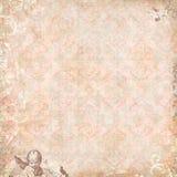天使花卉葡萄酒墙纸 库存图片