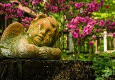 天使装饰品在庭院花中平安地休息 免版税图库摄影