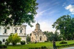 天使迈克尔, Andronikov修道院教会的救主和片段的Vernicle图象的斯帕斯基大教堂  免版税图库摄影