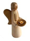 天使陶瓷烛台 免版税图库摄影