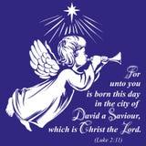 天使飞行并且弹喇叭,基督教手拉的传染媒介例证剪影的宗教标志 皇族释放例证