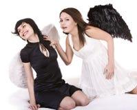 天使黑色女孩组白色 免版税库存照片