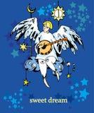 天使绘画颜色卡片 库存例证