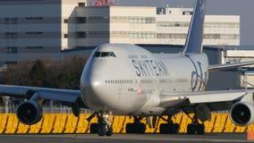 天合联盟中华航空公司波音B747起飞在成田 股票视频