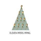 12天圣诞节-十一名吹笛者用管道输送 免版税库存照片