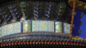 天坛在北京 古老结构瓷 被绘的被雕刻的射线瓦片 股票视频