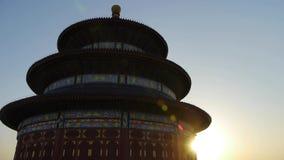 天坛在北京 在日落发光的中国的皇家古老建筑学 影视素材