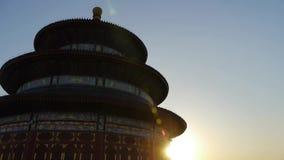 天坛在北京 在日落发光的中国的皇家古老建筑学 股票视频