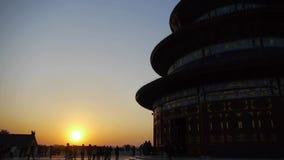 天坛在北京 在日落发光的中国的皇家古老建筑学 股票录像