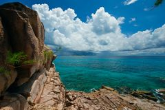 天堂塞舌尔群岛 库存照片