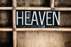 天堂概念金属在抽屉的活版词 免版税图库摄影
