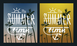 天堂海岛棕榈树日落 夏天海报集合 免版税库存图片