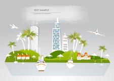 天堂海岛,假日旅馆旅行背景白色城市收藏 向量例证