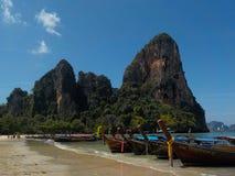 天堂海滩西部Railay的海湾, Krabi,泰国 库存图片