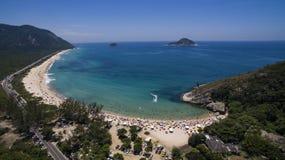 天堂海滩,美丽的海滩,环球美妙的海滩, Grumari海滩,里约热内卢,巴西,南美巴西 图库摄影