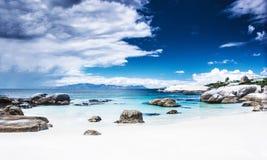 天堂海滩全景风景 免版税库存照片