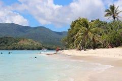 天堂海滩在奥秘海岛,瓦努阿图,南太平洋 免版税库存图片