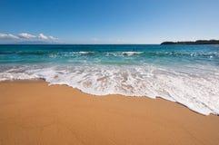 天堂海滩在米科诺斯岛 免版税库存图片